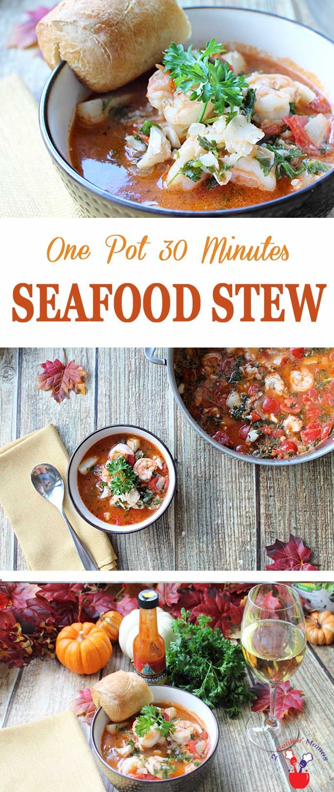 A one pot 30 minute seafood stew that's full of fi…