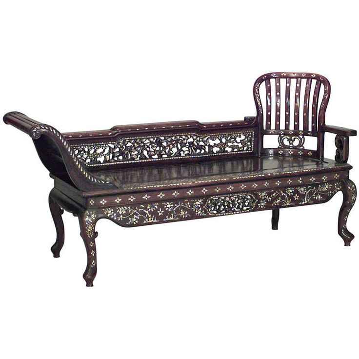 19th Century Burmese Inlaid Pearl Recamier   From a unique collection of antique and modern chaise longues at https://www.1stdibs.com/furniture/seating/chaise-longues/
