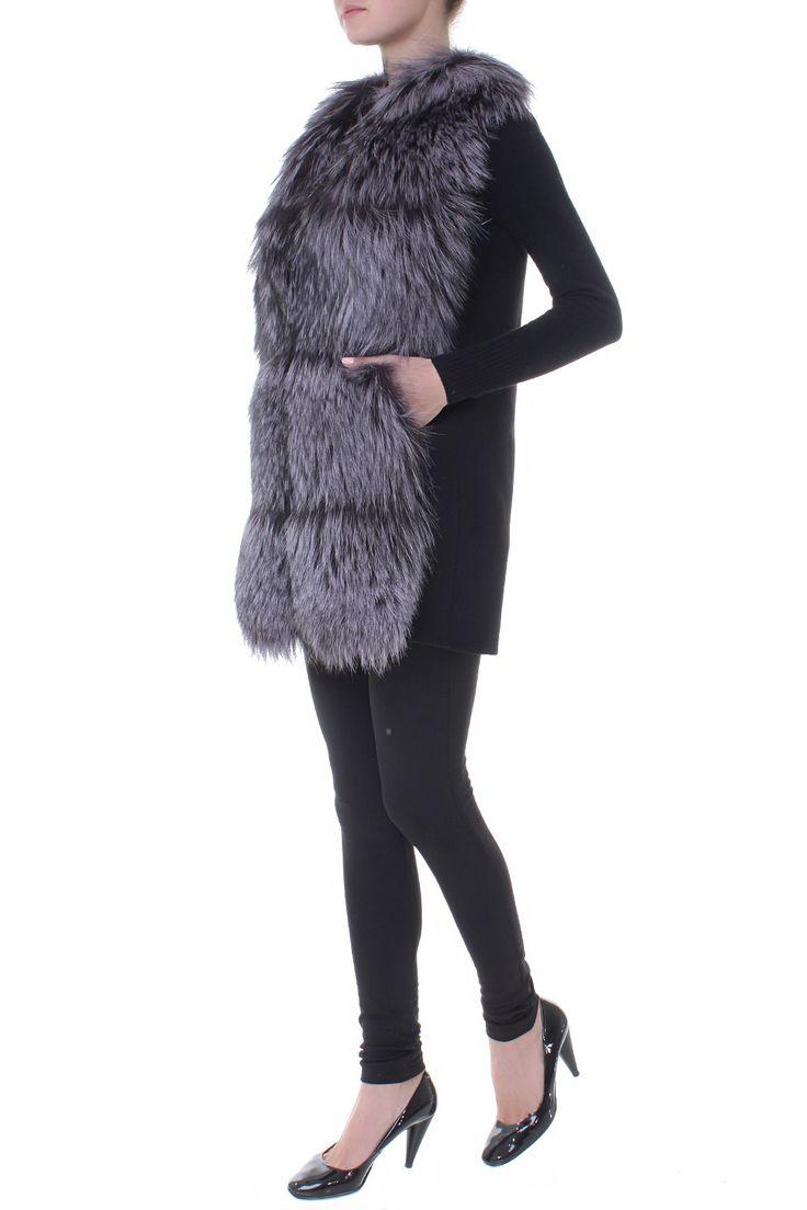Комбинированный удлиненный меховой жилет. Материал: Кашемир, мех чернобурки http://oneclub.ua/zhilet-22741.html#product_option242
