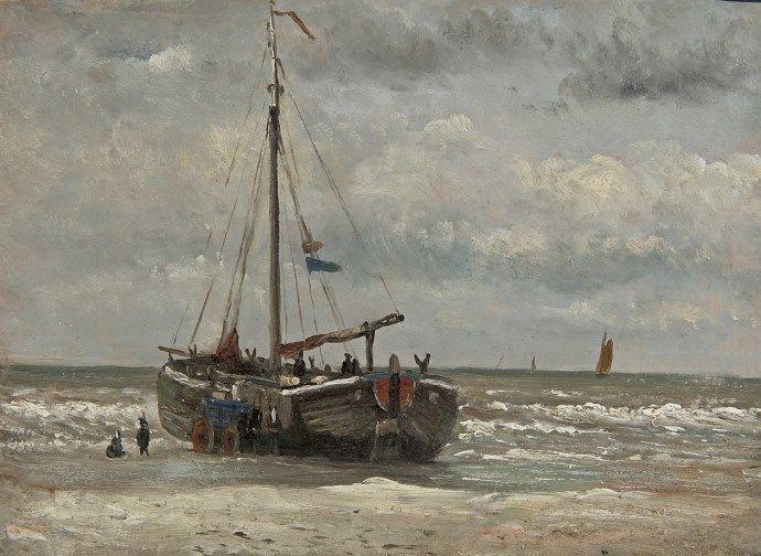Hendrik Willem Mesdag (Groningen 1831-1915 Den Haag) Fisher men with fishing boat on the beach - Dutch Art Gallery Simonis and Buunk Ede, Netherlands.