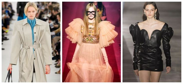 1. Trendy wiosna-lato 2017: zoom na ramiona, Balenciaga, Gucci, Sait Laurent, fot. Imaxtree, kolaż ELLE.pl