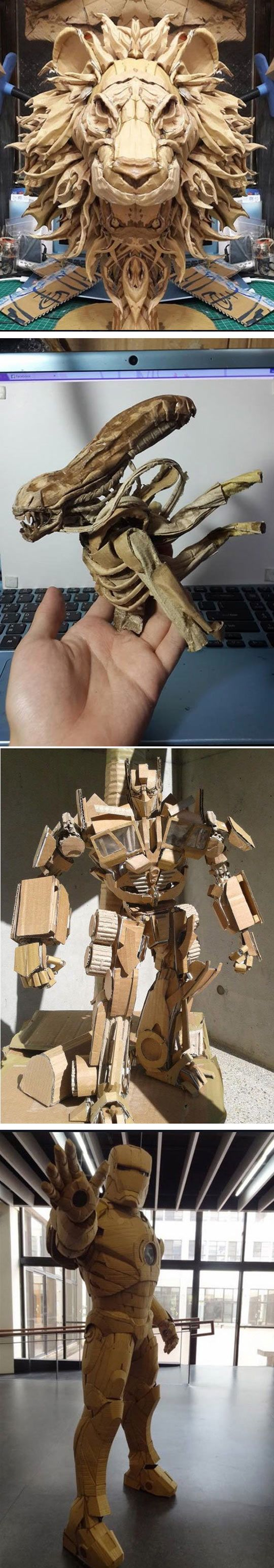 Creatures made from cardboard