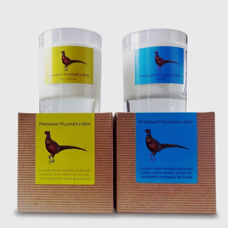 Pheasant Plucker & Son's scented candles come in two subtle, enduring fragrances; soothing and musky Dusk and uplifting and spicy Wildwood