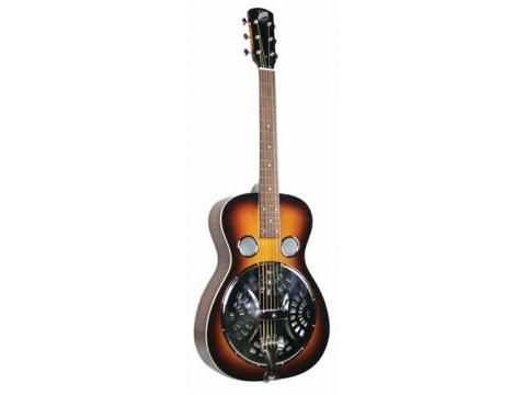 """Johnson JR-421 Spruce Top Resonator - BC Wholesalers. These models feature 10.5"""" hand-spun Continental cones, a chrome-plated bell brass coverplate and tailpiece, classic butterbean tuners, and a bone nut and saddle. The vintage sunburst finish captures the glory of the great pre-war models. #resonator #guitar"""