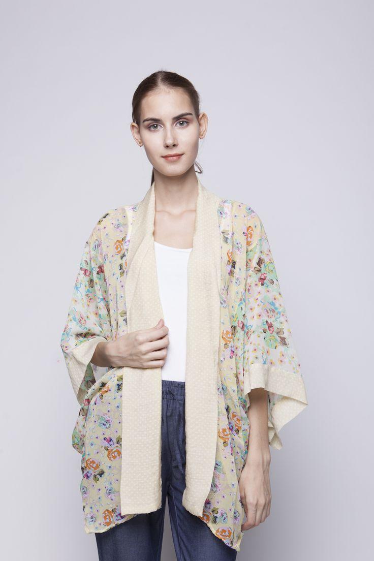 Belle Kimono Green & Orange Flower   Rp 221.250