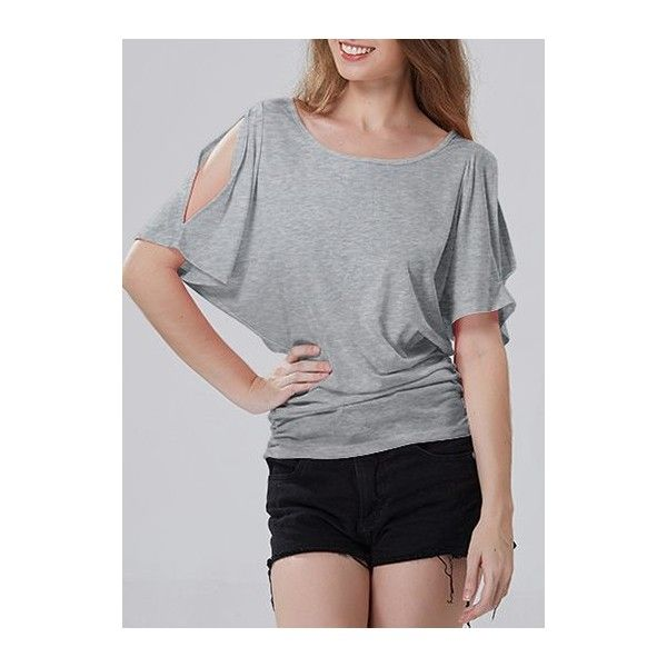 Elastic Side Batwing Short Sleeve T Shirt (35 CAD) ❤ liked on Polyvore featuring tops, t-shirts, grey, batwing t shirt, grey top, batwing tops, round neck t shirt and print tees