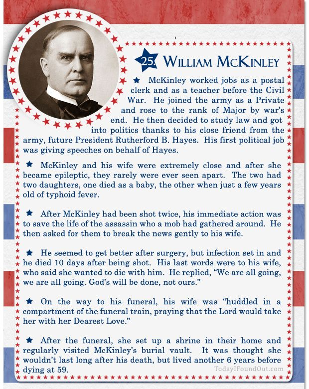 100+ Facts About US Presidents 25- William McKinley