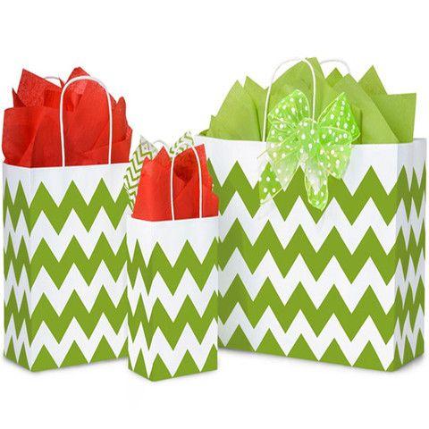 Paper Shopping Bags Printed Chevron - with White Twine Handles – B2BWraps.com
