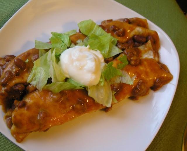 Baked Chili Bean & Cheese Enchiladas | Meals & Snacks - Vegan | Pinte...
