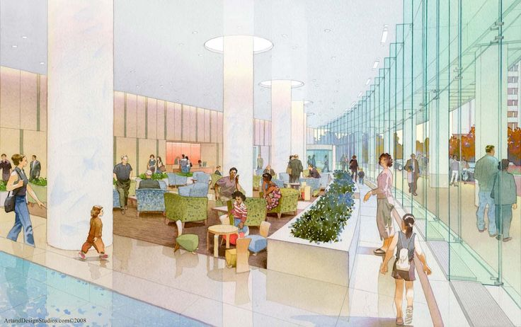 LIJHS Women's Hospital Lobby. SOM. Architectural Watercolor Rendering by Art & Design Studios.