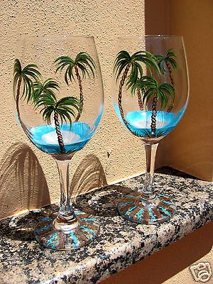 Hand Painted Tropical Beach Palm Tree Wine Glasses.
