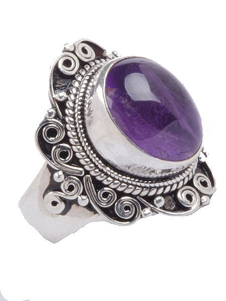 Gorgeous semi precious stone silver ring which has been hand cut in Nepal. This ring is guarenteed 925 silver. Amethyst is the gemstone for February. Amethyst is variety of quartz purple in colour. The color is often caused by iron or other trace elements within the quartz. Weight 8 grams