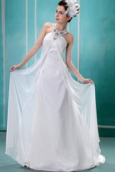 Chiffon Elegant Strapless Bridal Gowns wr0340 - http://www.weddingrobe.co.uk/chiffon-elegant-strapless-bridal-gowns-wr0340.html - NECKLINE: Strapless. FABRIC: Chiffon. SLEEVE: Sleeveless. COLOR: White. SILHOUETTE: A-Line. - 166.59