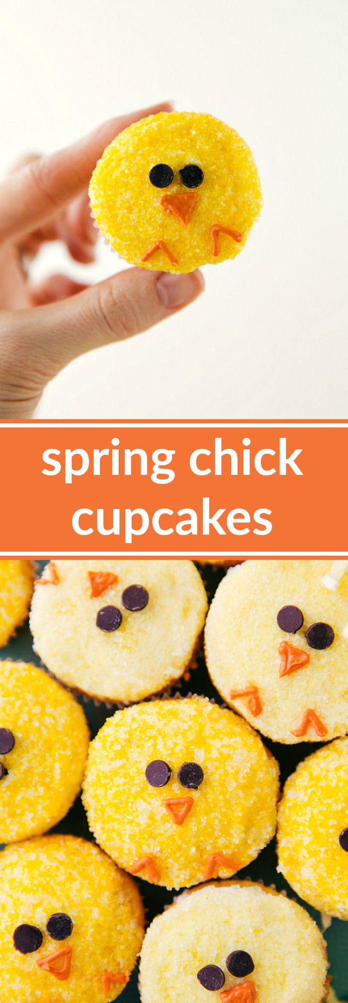 A super quick, easy, and adorable way to decorate yellow cupcakes -- made to look like a Spring chick!