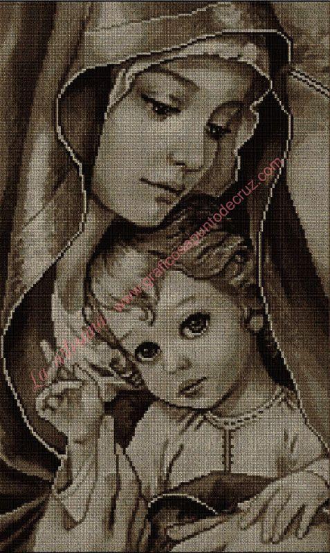 Gráfico a punto de cruz - Virgen y el niño en sepia 45 x 76 cm