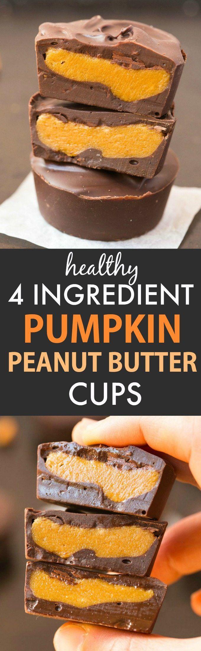 Healthy 4-Ingredient Pumpkin Peanut Butter Cups (V, GF, DF)- Easy, homemade pumpkin peanut butter cups BETTER than Reese's- A creamy fudgy center with a layer of chocolate! {vegan, gluten free, sugar free recipe}- thebigmansworld.com #pumpkin #peanutbutter