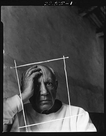 Contact sheet and crop marks for Pablo Picasso portrait by Arnold Newman, 1954