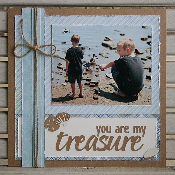 """Darling """"You are my Treasure"""" Beach Scrapping Page...with twine & wrinkled edges. ZELDAdog - Scrapbook.com."""