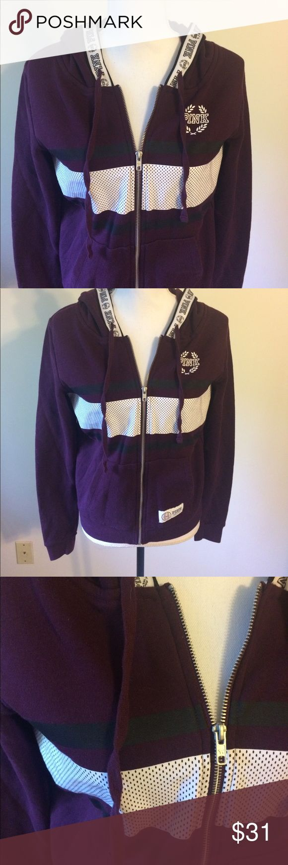 Sporty PINK Hoodie SZ Large Stunning burgundy/purple and white zip up sweatshirt by PINK. Great condition, barely worn. Women's Size Large. PINK Tops Sweatshirts & Hoodies