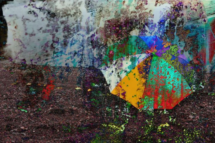 "ARTFINDER: Umbrella Abstract by Randi Grace Nilsberg - Umbrella abstract made of two images.  My photo ""Beauty in Decay"" is used as a texture."
