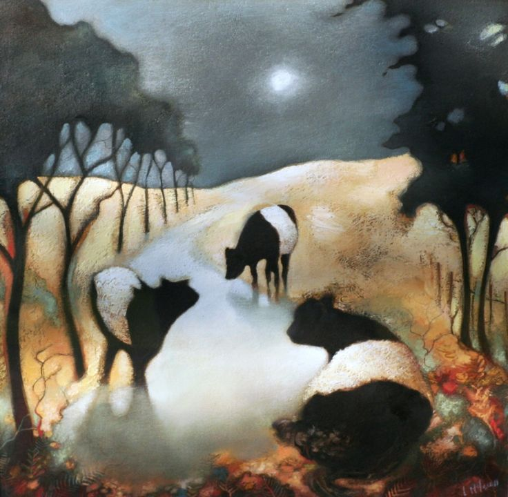 Lesley McLaren - Belted Galloway cows, Under the Moon