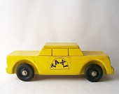 vintage toy car yellow taxi cab home decor childs children kids wood retro display men boys room display prop