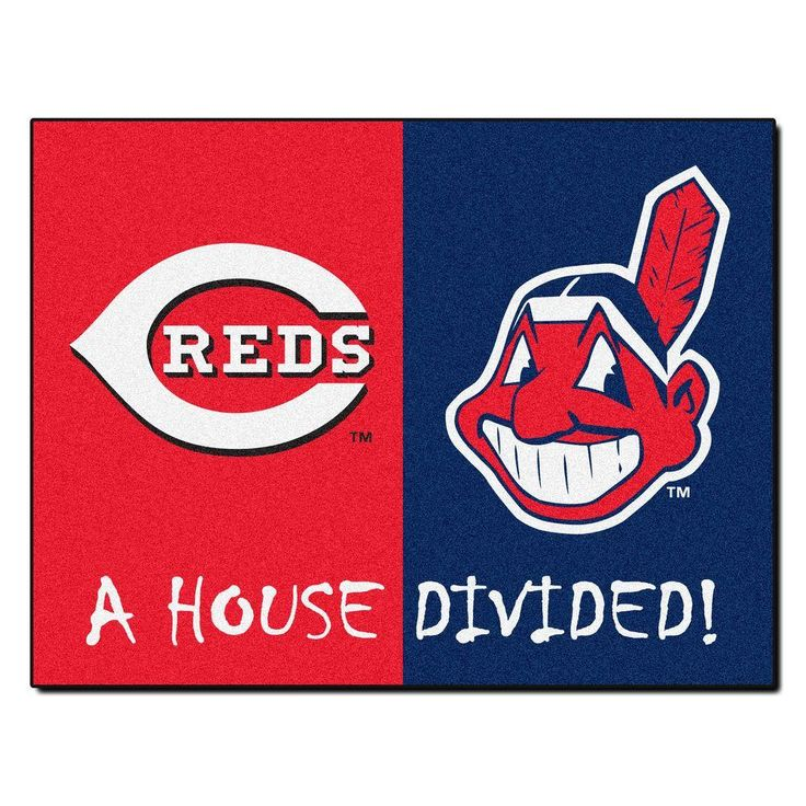 MLB Reds/Indians House Divided Red 2 ft. 10 in. x 3 ft. 9 in. Accent Rug, Red/Blue