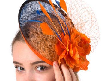 Ready to ship today Blue Orange Fascinator by FascinatorsFirst
