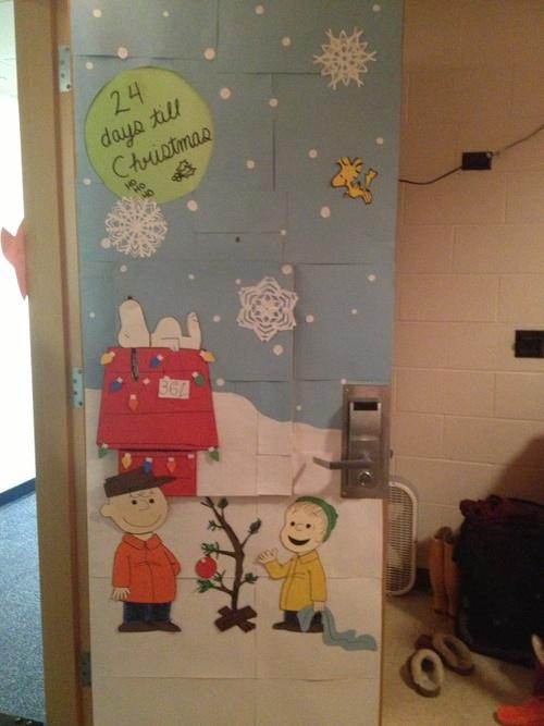Charlie Brown Christmas Door @Deborah Davis I could see  this on your door! :)