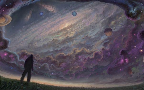 Обои картинки фото поле, небо, галактика, трава, человек