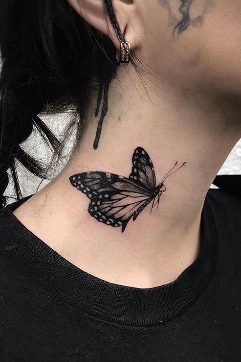 Best Neck Tattoos, Neck Tattoos Women, Body Art Tattoos, Small Tattoos, Butterfly With Flowers Tattoo, Black Butterfly Tattoo, Butterfly Tattoo Designs, Neck Tattoo For Guys, Hand Tattoos For Guys
