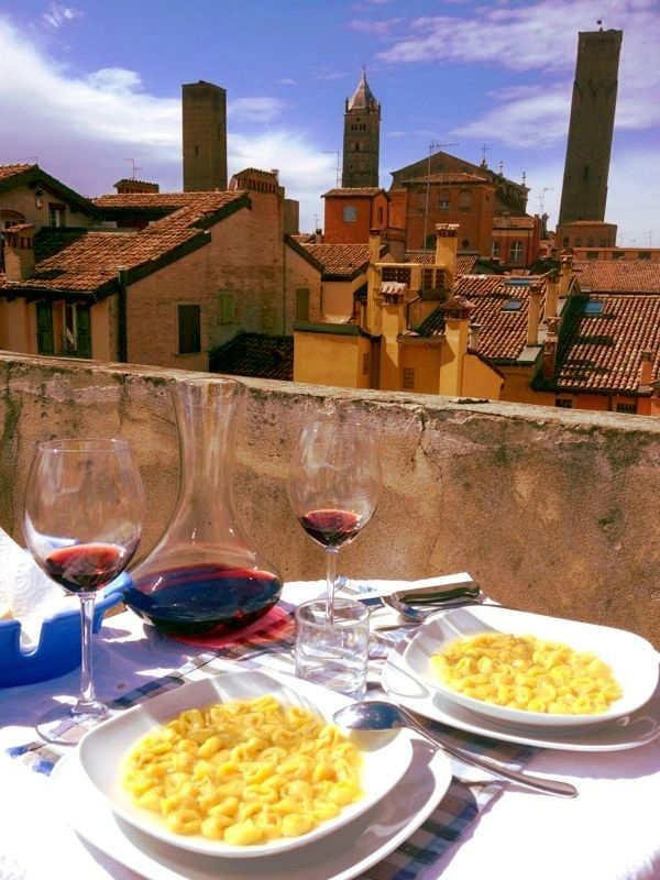 Lunch with a view - tortellini in brodo, Bologna
