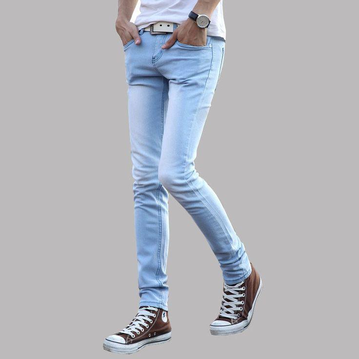 Синие джинсы узкие джинсы мужская одежда тенденция тонкий маленькие брюки тонкий молодые люди ноги популярные молодежные джинсы Азиатский размер 27-36