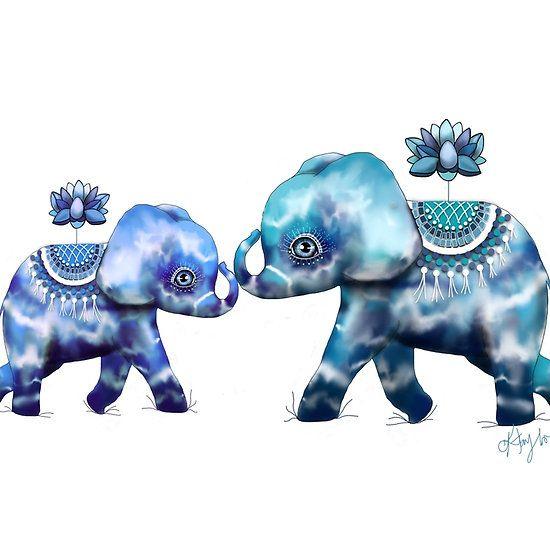 Blue Lotus Tie Dye Elephants