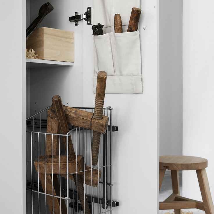 Swoon Square High Cabinet, with optional laundry basket and organizer. #bathroom #home #scandinavian design #badrum