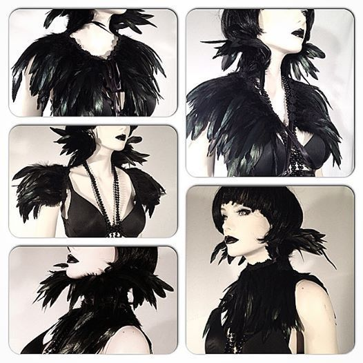 BLACK FEATHER CAPE COLLAR GOTHIC CROW RAVEN STEAMPUNK WHITBY VAMPIRE COSTUME in Clothes, Shoes & Accessories, Fancy Dress & Period Costume, Fancy Dress | eBay