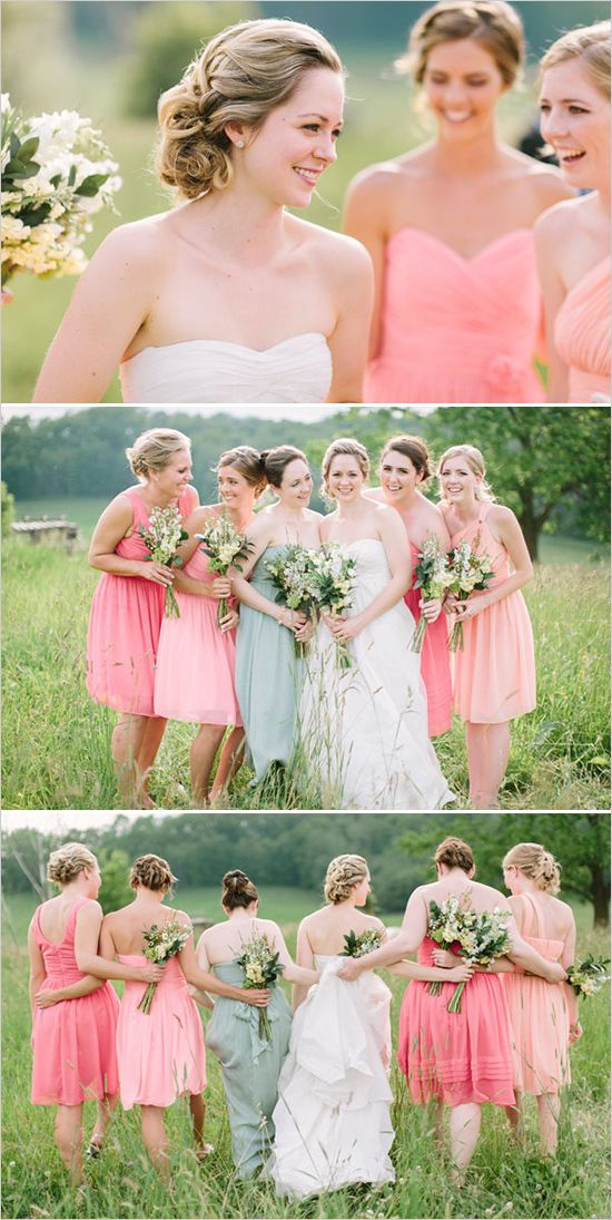 Shades of pink bridesmaids looks. Captured By: When He Found Her ---> http://www.weddingchicks.com/2014/05/12/are-you-a-camera-shy-bride-or-groom/