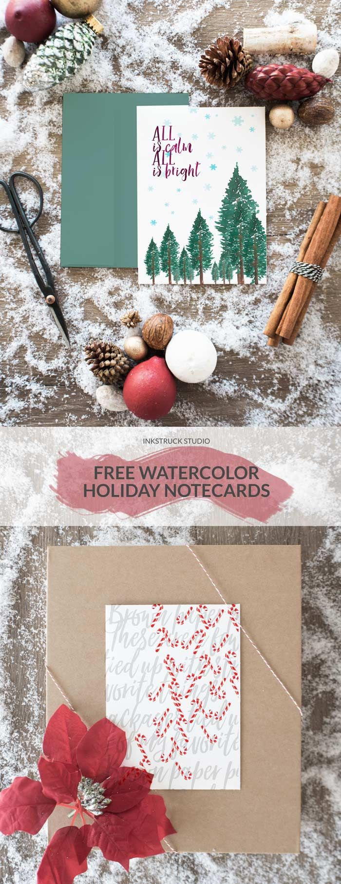 Download free watercolor holiday notecards in two different designs that will save you time ! Contains candy canes and pine trees!