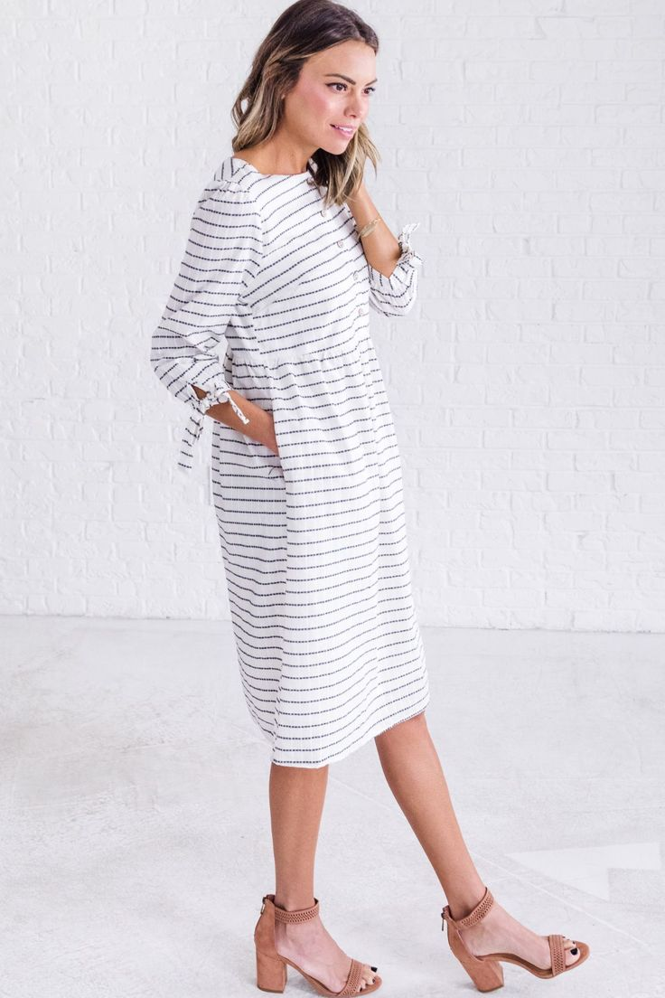 White striped dress, cute church outfits for women, cute spring dress outfit ideas #cuteoutfits