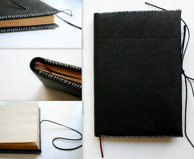 Unique notebook with hand-colored paper and eco-leather cover.