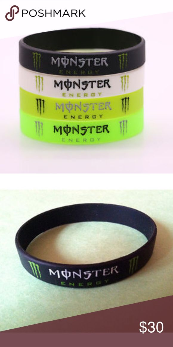 Monster bracelet This black monster energy wristband is a must have for monster energy drink addicts!! This bracelet was for a call of duty promo and there were only a limited amount made!!!  💋silicone rubber bracelet 💋stretchy, one size fits all 💋collectors addition monster energy Jewelry Bracelets