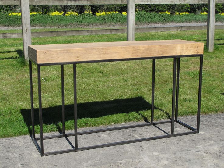 Console Table Made From Iron Base With Old Pine Wooden Top - C9756 | Indigo Asian Antiques & Interiors