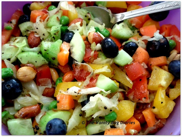 This Monday's Meal of the day (MOTD) is Navratan Salad, this recipe is taken from Ankita of Corallista Makeup Blog. Navratan salad means that it has nine ingredients. Most of the salad is done as per the recipe, just changed a few bits to suit the ingredients present in my kitchen.           Do you like