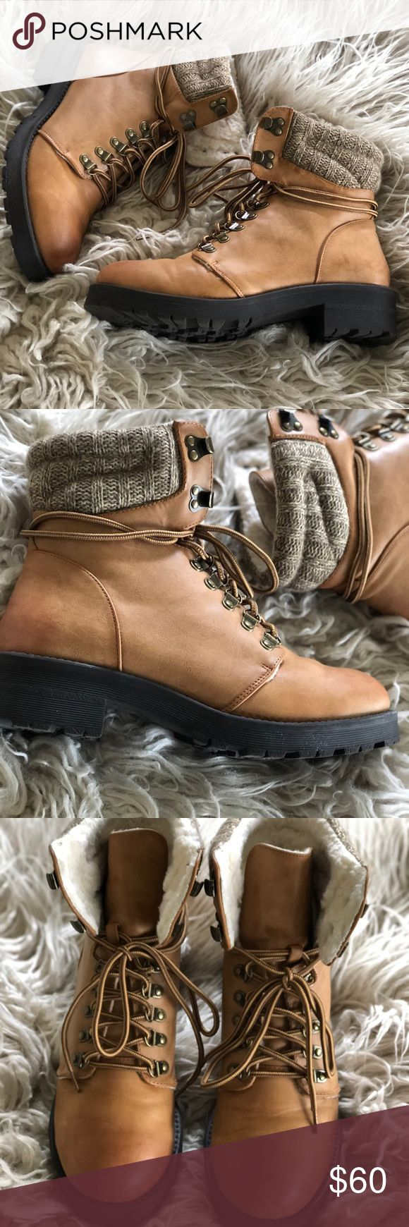 "Maylynn Man Made Winter Boot -worn once -in excellent condition -vegan boots -man made materials  -tan colored  -10% off bundles of 2+ items -model: 5'7"" & 140 lbs MIA Shoes Lace Up Boots"