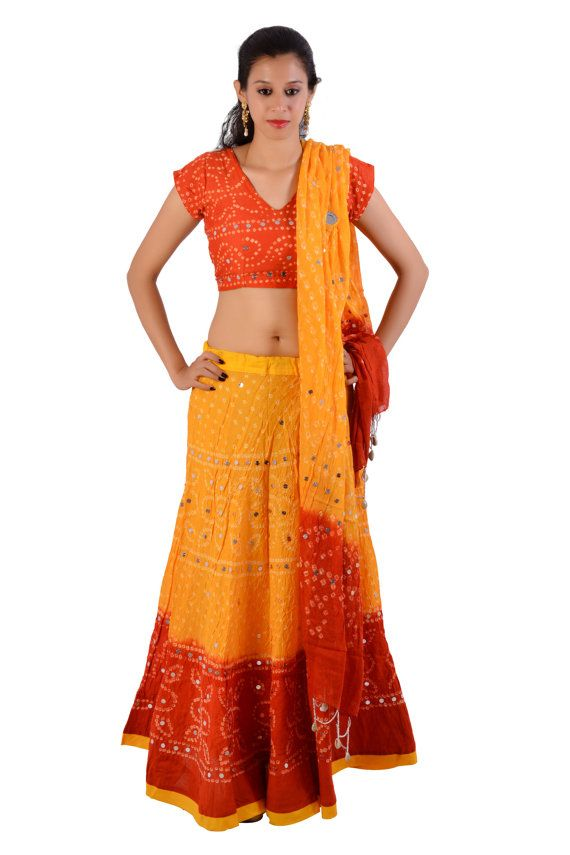 New Designer Tie & Dye Bandhej-Bandini Lehenga Choli Sequins Work Bohemia $40.00
