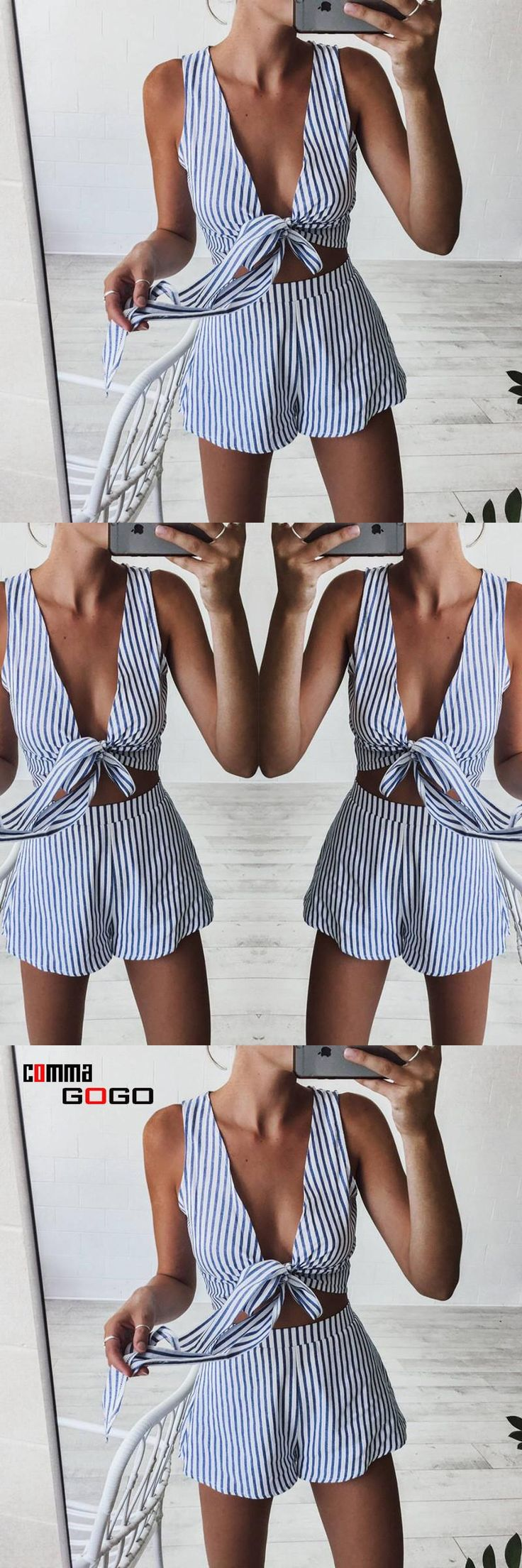 2017 Summer Beach Playsuit Sexy Women Rompers Striped Jumpsuit Casual Deep V-Neck Sashes Sleeveless Short Overalls Woman Suit