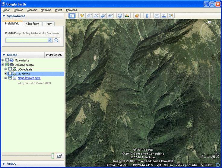 Topografická mapa SR s turistickými trasami a lesnými cestami pre Google Earth.