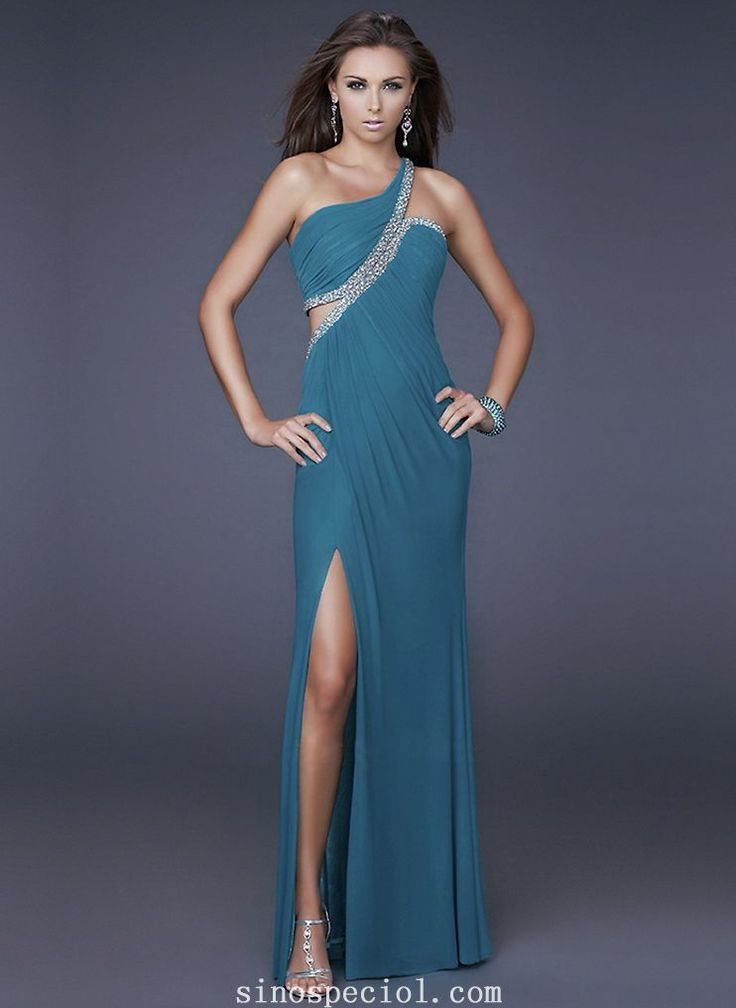 Charming Sheath/Column One-shoulder Elastic Woven Satin Evening Dress
