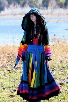 e2c67963093 custom made to order SuperDuper Rainbow coat nymph elf gypsy faery ...