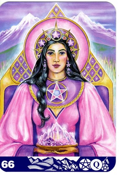 La reine d'écus - New Aura Soma Tarot